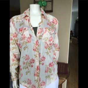 Lucky Brand button down floral top with tank